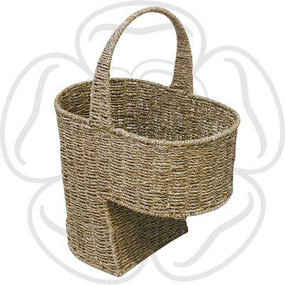 JVL Natural Seagrass Stair Step Storage Basket with Handle 38.5 x 28 x 55cm