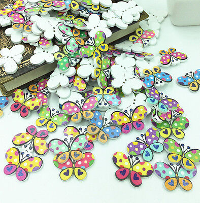 FREE 20pcs Butterfly Wooden Buttons 2 Holes Fit Sewing and Scrapbook 30x20mm
