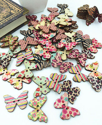 20 PCS Mixed Butterfly Wooden Buttons 2 Holes Fit Sewing and Scrapbook 28x21MM