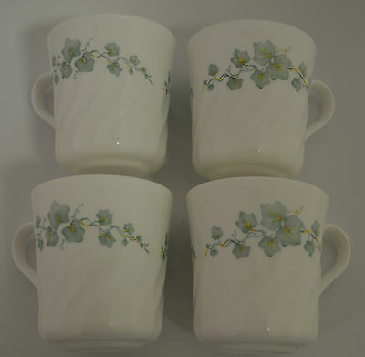 Corning Corelle Coffee Tea Cup Mug Callaway Ivy White Swirl  (Set of 4)