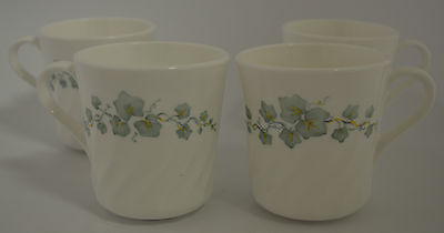 Corning Corelle Callaway Ivy White Swirl Coffee Tea Cup Mug (Set of 4)