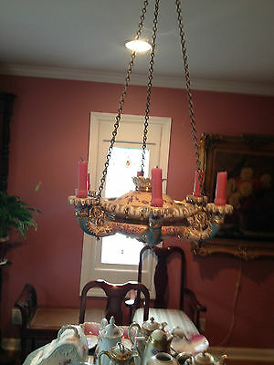 19th Century  French Six Arm  Porcelain Hand Painted Floral Candle Chandelier