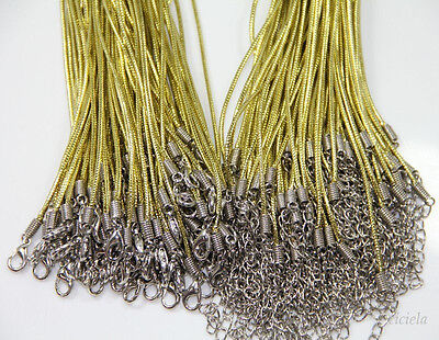 20Pcs High Quality Gold Wire Necklace Lobster Clasp Thread Cord Jewelry Making