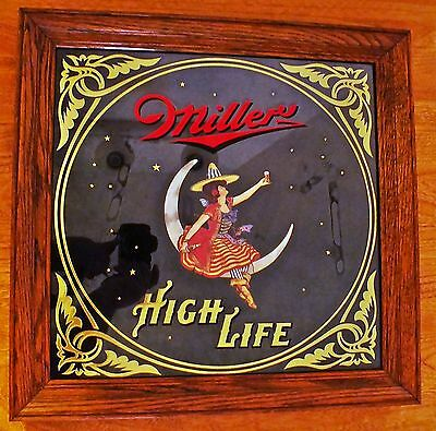 TRUE VINTAGE MILLER HIGH LIFE MIRROR PICTURE GIRL ON CRESCENT MOON BUY IT NOW $