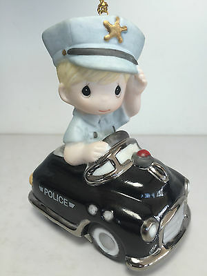 Precious Moments ALWAYS READY TO SERVE & PROTECT Ornament Policeman Car RARE