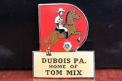 Vintage Enamel Lions Club Pin Dubios PA Home of Tom Mix Horse and Rider