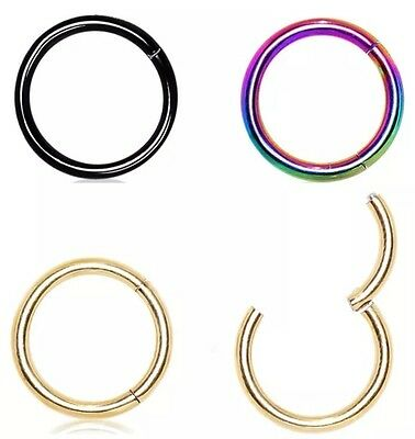 Septum Clicker Nose Ear Ring Captive Hinged Segment Titanium Colour Piercing CZ
