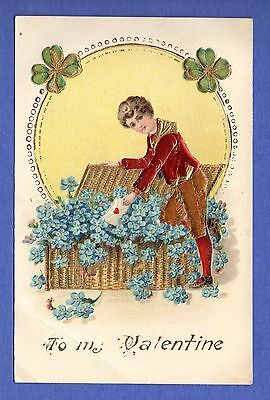 Vintage Embossed To My Valentine, North Patterson, New Jersey 1909 Postcard