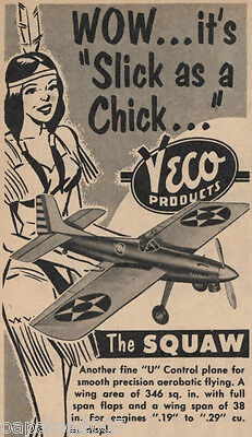 Model Airplane Plans: Vintage 1951 Veco SQUAW UC Stunter by Joe Wagner