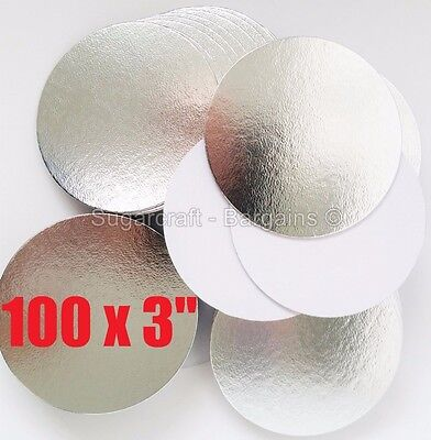 "100 x 3"" SILVER ROUND THIN CUT EDGE cake cupcake boards cards sugarcraft CULPITT"