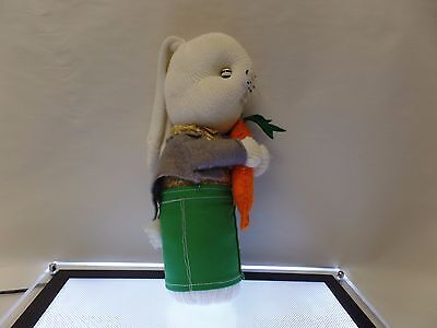 Vintage Old Original Sock Monkey Easter Bunny With Carrot