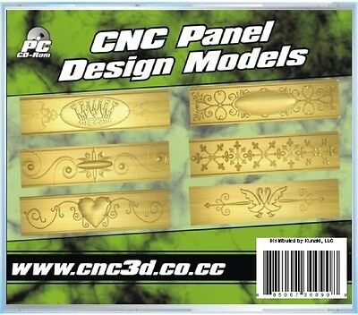 3D CNC PANEL DESIGN RELIEF MODELS in STL DXF EPS format - NEW & Sealed CD-Rom -