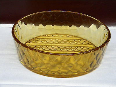 Antique EAPG Amber Diamond Quilted Large Serving Dish / Bowl