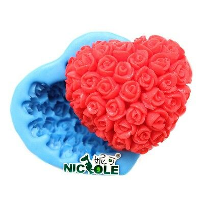 Large Heart Rose Flower Silicone Cake Candle Soap Decorating Mold Fondant Cutter