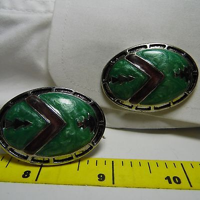 cufflinks LARGE SILVER OVAL WITH SOFT ENAMEL IN GREEN AND GRAY DESIGN