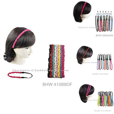 6pcs Women Stretch Head Wrap W/ Elastic Band Double Braided Headband Multicolors