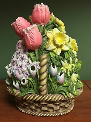 PartyLite Floral Bouquet Tealight Holder P7747 Flower Candle NEW IN BOX Easter