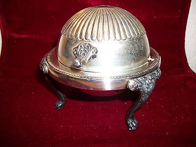 Vintage Silverplate by FB Rogers Co. Tri leg domed butter dish with Lion Heads