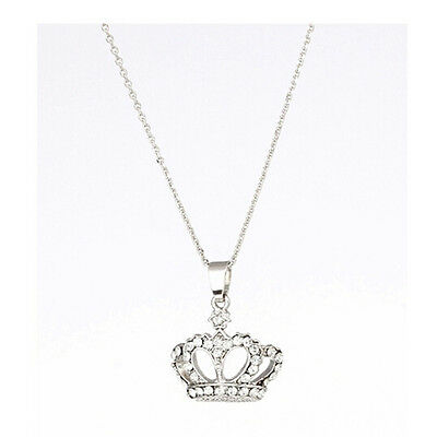 new cute solid silver chains rhinestone crown pendant necklace