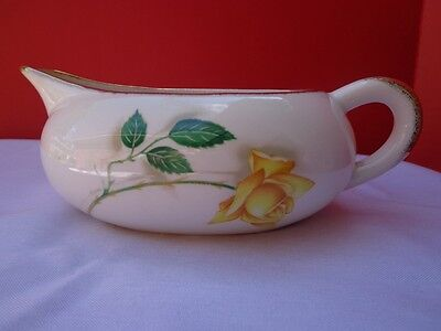 Vintage Gravy Boat Yellow Roses Shabby Chic Cottage China Dinnerware 8 inches