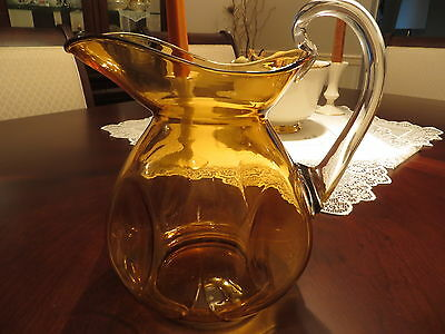 Vintage Cambridge Glass Amber Doulton Pinch Pitcher - Chip on Handle