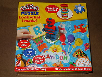 Play-Doh Puzzle Look What I Made-48 Pieces With Play-Doh Included -NIP