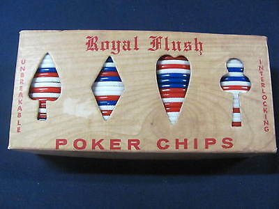 Vintage Poker Chips Royal Flush 99 Count Red White and Blue