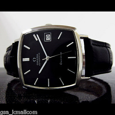STUNNING VINTAGE OMEGA GENEVE MEN'S AUTO BLACK DIAL DATE WATCH