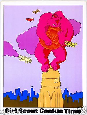 """(1972) """"GIRL SCOUT COOKIE TIME"""" Rare Poster *KING KONG MONSTER - NY HORROR* Mint"""