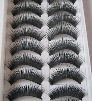 New @ 10 Pairs Black Natural Thick False Eyelashes Fake Eye Lashes