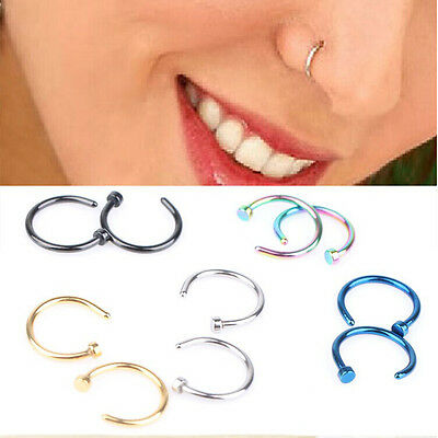 2pcs Stainless Steel Nose Open Hoop Ring Earring Body Piercing Studs Jewelry