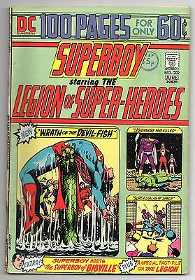 Superboy  Vol 1 No 202 Jun 1974 (FN+ to VFN-)Starring the Legion of Super-Heroes
