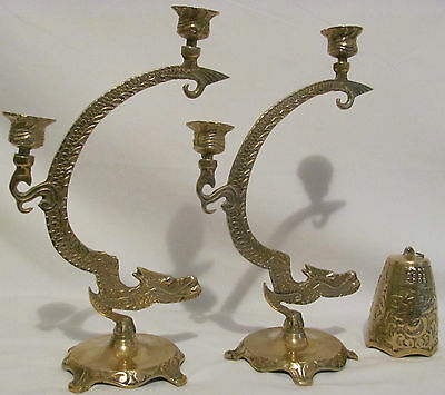 """VINTAGE Solid Brass Chinese Japanese Ceremonial Dragon Candleholder 12 1/2"""" Tall"""