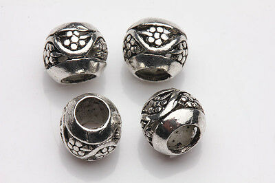 10Pcs Carving Flower Tibet Silver Hollow Out Round Loose Spacer Beads 8MM DIY