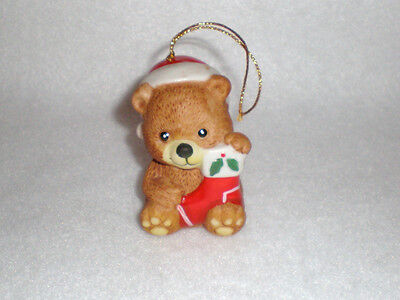 """J.S.N.Y. """"Teddy with Stocking"""" Bisque Porcelain Bell /Christmas Ornament"""