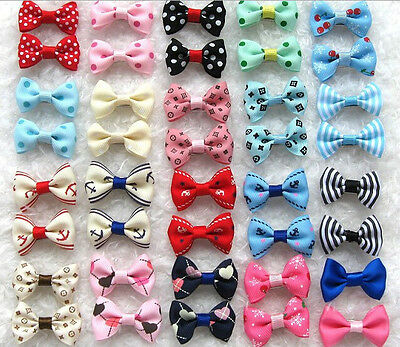 Pet Girl Puppy Band Clips Bowknot Dog Hair Bows Pins Hairpin Flower Grooming Lot