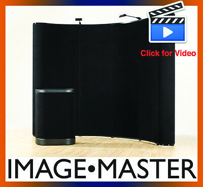 NEW Deluxe 10' Black Portable Curved Trade Show Booth Pop Up Display Exhibit