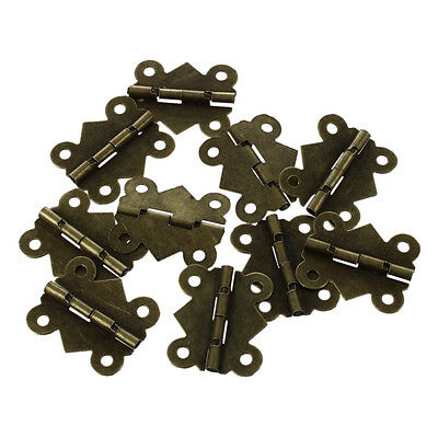 10Pcs Mini Iron Butterfly Hinges Cabinet Drawer Door Butt Hinge S*