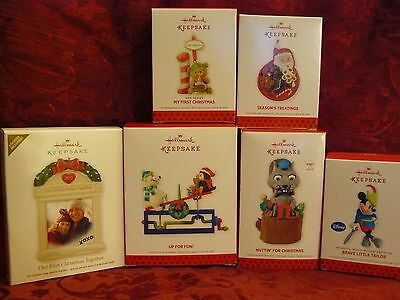LOT 6 KIDS HALLMARK KEEPSAKE CHRISTMAS ORNAMENTS SANTA MICKEY UP FOR FUN FIRST