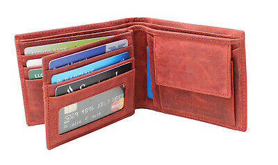 Starhide Mens Quality Red Tan Distressed Hunter Leather Wallet Gift Boxed - 1055