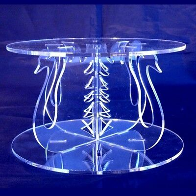 Swan Design Round Single Tier Cake Stand - Clear