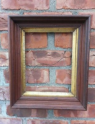 Vintage Small Victorian Walnut picture frame with Gold gilt inner band