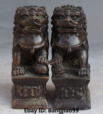 Chinese Bronze Fengshui Foo Fu Dog Guardion Door Lion Pair On Base Sculpture