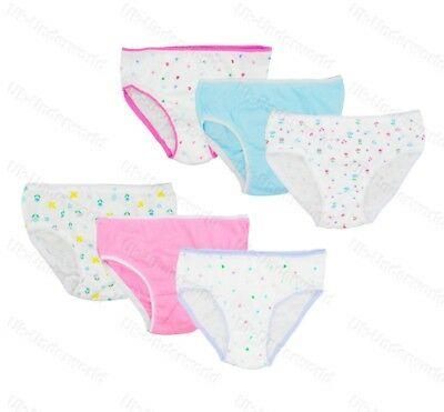 6 Pairs Girls Childrens Cotton Pants Briefs Knickers Kids Underwear 2-12 Years