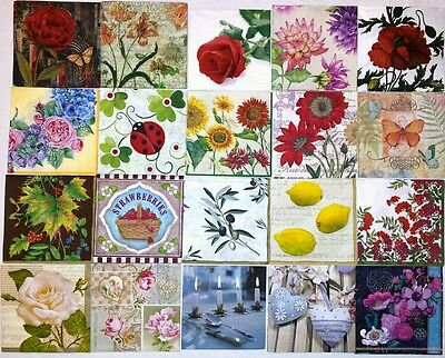 20 paper napkins for decoupage & crafts cocktail size 3-ply **FLORAL DESIGNS 5**