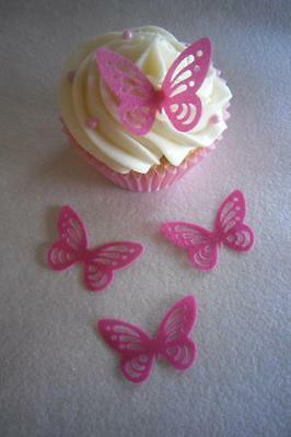 12 24 30 Edible Wafer Paper  Butterfly Cupcake/ Cake Toppers - Choose Colours