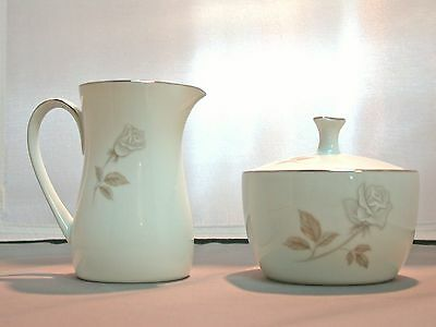 Noritake China Rosay, Creamer and Sugar Bowl with Lid