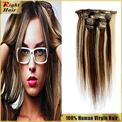 7pcs 15'' full set clip in remy extensions human hair  #4/613 Brown & Blond 70g