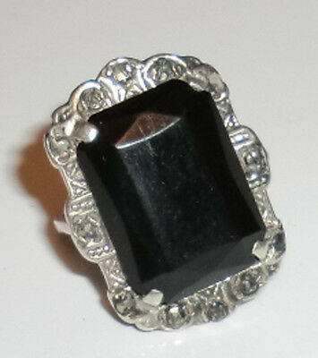 Vintage Sterling Silver Faceted Onyx Marcasite Ring Art Deco 1920s Old