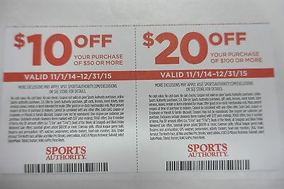 SPORTS AUTHORITY $10 OFF & $20 OFF Coupons Exp. 12/31/2015
